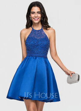 A-Line/Princess Halter Short/Mini Satin Homecoming Dress With Beading Bow(s) (022164879)