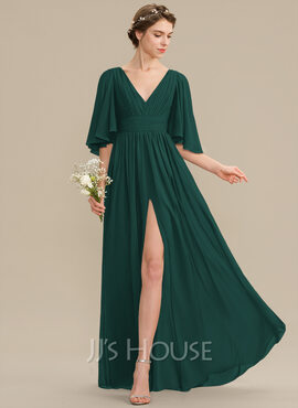 A-Line V-neck Floor-Length Chiffon Bridesmaid Dress With Ruffle Bow(s) Split Front (007176756)