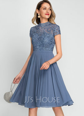 A-Line High Neck Knee-Length Chiffon Cocktail Dress (016212845)