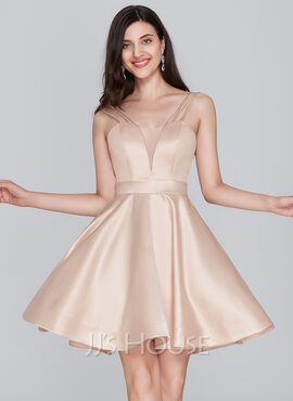 A-Line Sweetheart Short/Mini Satin Homecoming Dress (022124866)