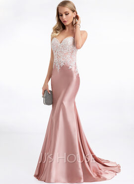 Trumpet/Mermaid Sweetheart Sweep Train Evening Dress (017198640)