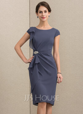 Sheath/Column Scoop Neck Knee-Length Chiffon Mother of the Bride Dress With Beading Cascading Ruffles (008164084)