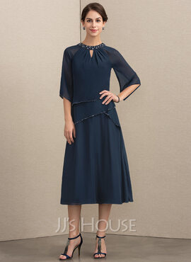 A-Line Scoop Neck Tea-Length Chiffon Mother of the Bride Dress With Beading Sequins (008152146)