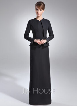 Sheath/Column Scoop Neck Floor-Length Chiffon Mother of the Bride Dress With Sequins (008006071)