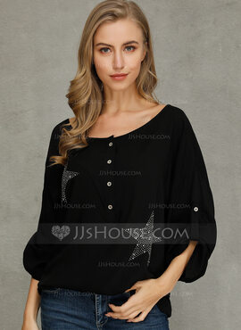 1/2 manches Polyester Col V Tricot Blouses (1003223811)