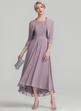 A-Line/Princess Scoop Neck Asymmetrical Chiffon Lace Mother of the Bride Dress With Beading (267183883)