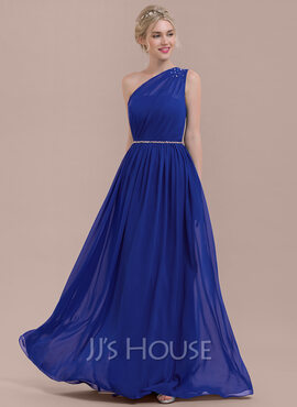 A-Line/Princess One-Shoulder Floor-Length Chiffon Bridesmaid Dress With Ruffle Beading Sequins (266177060)