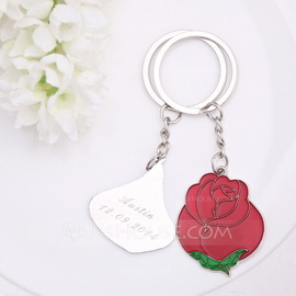 """Personalized """"Love is like a red rose"""" Stainless Steel Keychains (Set of 2 pieces)"""