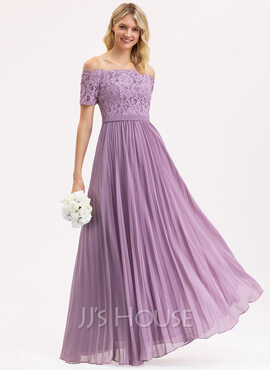 A-Line Off-the-Shoulder Floor-Length Chiffon Lace Bridesmaid Dress With Pleated (007190710)