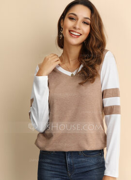Manches longues Polyester Col rond Tricot Blouses (1003223496)