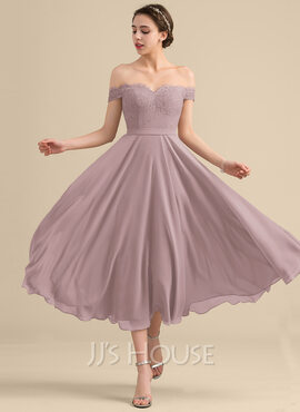 A-Line Off-the-Shoulder Tea-Length Chiffon Lace Homecoming Dress With Beading Sequins (022170654)