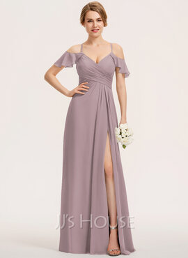A-Line V-neck Floor-Length Chiffon Evening Dress With Split Front Cascading Ruffles (017237017)
