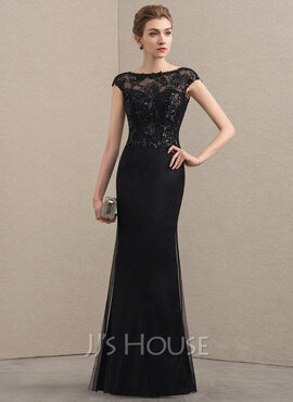 Sheath/Column Scoop Neck Floor-Length Tulle Sequined Mother of the Bride Dress With Beading (008152116)
