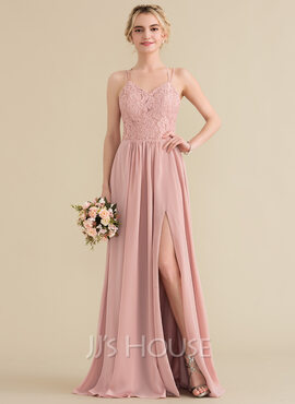 A-Line/Princess Sweetheart Floor-Length Chiffon Lace Bridesmaid Dress With Split Front (007144753)