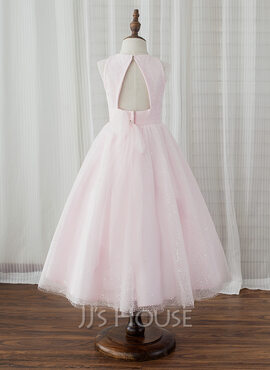 A-Line/Princess Tea-length Flower Girl Dress - Tulle Sleeveless Scoop Neck With Back Hole (269183996)