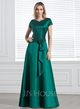 A-Line/Princess V-neck Floor-Length Satin Bridesmaid Dress With Ruffle Flower(s) (266187753)
