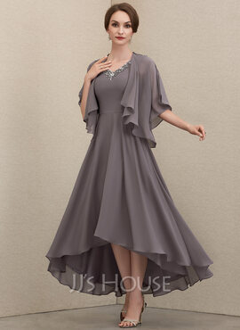 A-Line V-neck Asymmetrical Chiffon Mother of the Bride Dress With Beading Sequins (008204920)