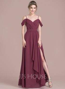 A-Line/Princess V-neck Floor-Length Chiffon Bridesmaid Dress With Bow(s) Split Front Cascading Ruffles (007104738)