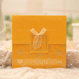 Classic Style Tri-Fold Invitation Cards With Bows (Set of 50) (114091446)