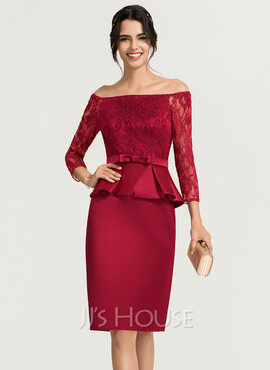 Sheath/Column Off-the-Shoulder Knee-Length Satin Cocktail Dress (016170856)