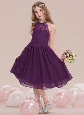 A-Line Scoop Neck Knee-Length Chiffon Junior Bridesmaid Dress (009119575)