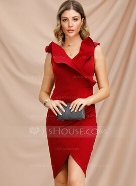 Polyester With Stitching Knee Length Dress (199222130)