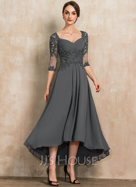 A-Line Sweetheart Asymmetrical Chiffon Lace Mother of the Bride Dress With Beading Sequins (008217302)