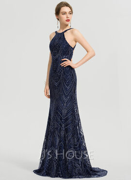Trumpet/Mermaid Scoop Neck Sweep Train Lace Prom Dresses (018192339)