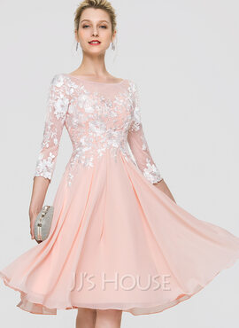 A-Line Scoop Neck Knee-Length Chiffon Homecoming Dress (022211648)