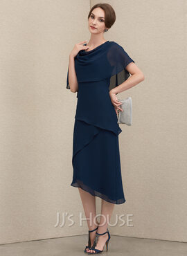 A-Line Cowl Neck Asymmetrical Chiffon Mother of the Bride Dress With Beading Sequins (008204938)
