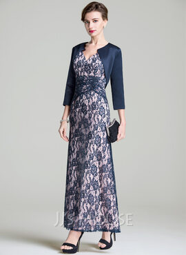 A-Line V-neck Ankle-Length Lace Mother of the Bride Dress With Ruffle (008072690)