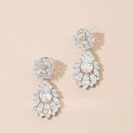 Shining Copper/Zircon With Cubic Zirconia Earrings (011146581)