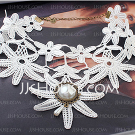 Alloy/Lace With Pearl Women's Necklaces (011035176)