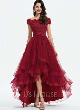 A-Line Off-the-Shoulder Asymmetrical Tulle Evening Dress With Beading Sequins Bow(s) (017208794)