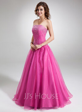 Ball-Gown Strapless Floor-Length Organza Quinceanera Dress With Beading Sequins (021004659)