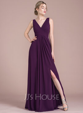 A-Line V-neck Floor-Length Chiffon Prom Dresses With Ruffle Split Front (018116387)