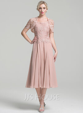 A-Line Square Neckline Tea-Length Chiffon Mother of the Bride Dress (008094034)