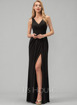 A-Line V-neck Floor-Length Jersey Prom Dresses With Ruffle Split Front (018220240)