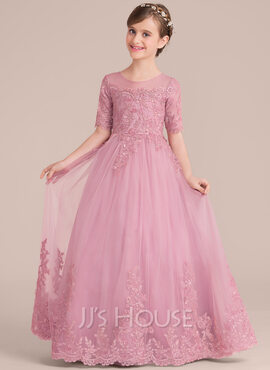 Ball-Gown Scoop Neck Floor-Length Tulle Lace Junior Bridesmaid Dress With Sequins (009130492)