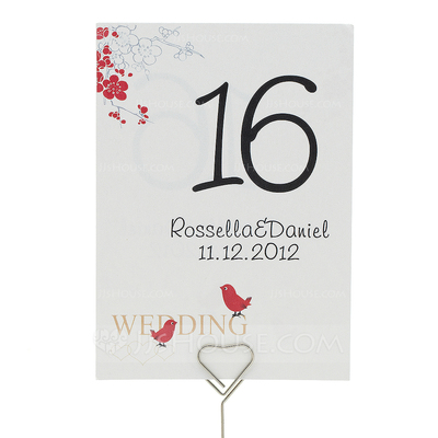 "Personalized ""Cherry Blossom and Love Birds"" Pearl Paper Table Number Cards (Set of 10)"