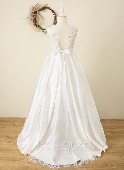 Ball-Gown/Princess Sweep Train Flower Girl Dress - Satin/Tulle/Lace Sleeveless Scoop Neck With Sash