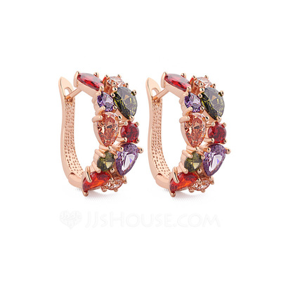 Colourful Zircon/Rose Gold Plated Earrings