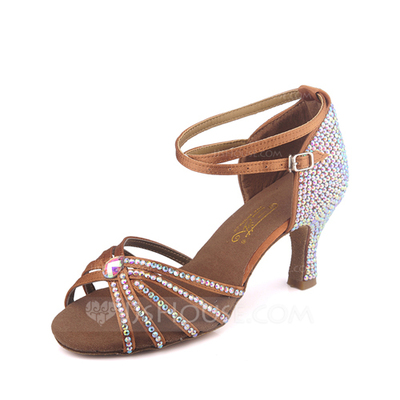 Women's Satin Sandals Pumps Latin With Rhinestone Ankle Strap Buckle Dance Shoes