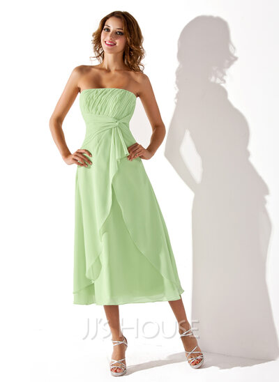 Empire Strapless Tea-Length Chiffon Bridesmaid Dress With Cascading Ruffles
