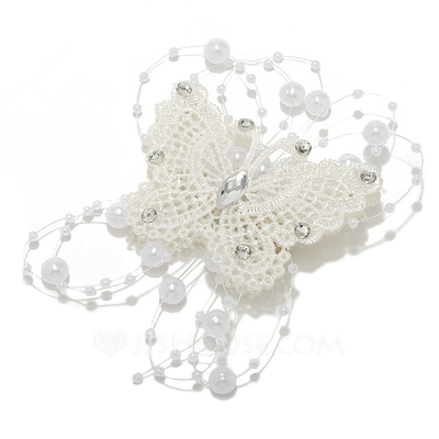 Simple Butterfly Imitation Pearls/Lace Barrettes