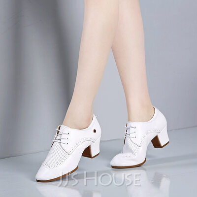 Women's Microfiber Leather Heels Latin Modern Belly Character Shoes With Lace-up Dance Shoes
