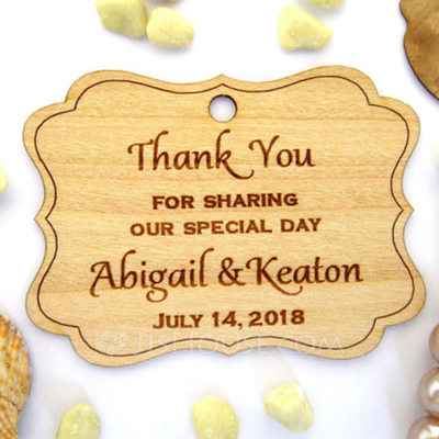 """Personalized """"Thank You"""" Wooden Tags (Set of 10)"""