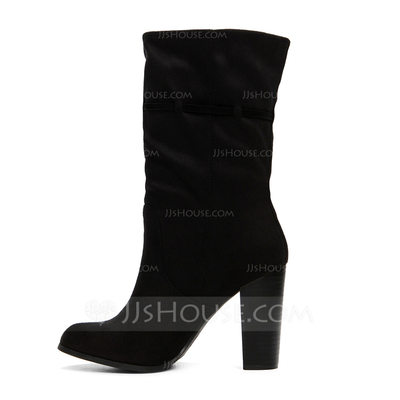 Women's Suede Chunky Heel Boots Mid-Calf Boots shoes