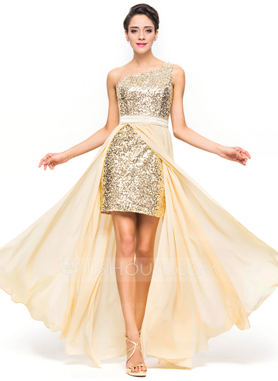 A-Line/Princess One-Shoulder Asymmetrical Chiffon Sequined Prom Dress