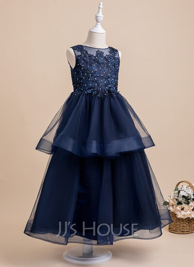 Ball-Gown/Princess Ankle-length Flower Girl Dress - Sleeveless Scalloped Neck With Lace/Beading/Bow(s)/V Back